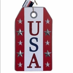 USA Patriotic Hanging Wood Wall Sign Red Stars
